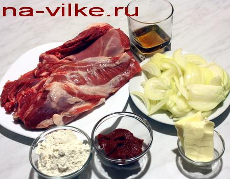 Ингредиенты - баранина с соусом