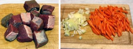 Мясо, лук, морковь