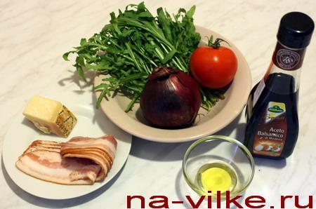 Для салата с руколой и беконом