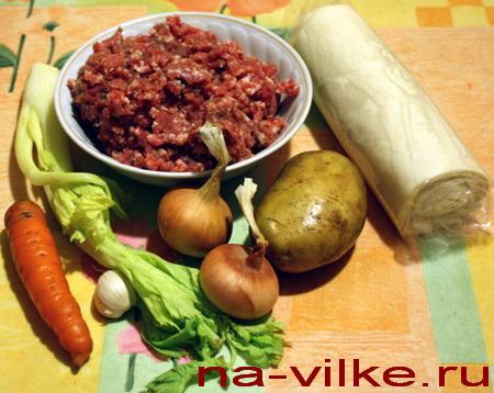 Овощи, фарш и тесто