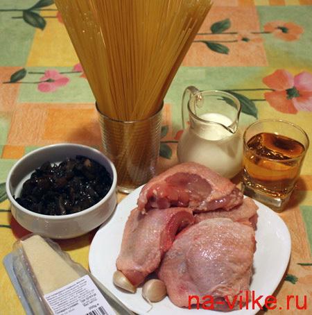 Спагетти, курица, грибы