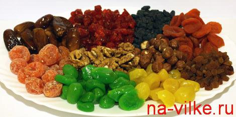 Засахаренные фрукты и орехи