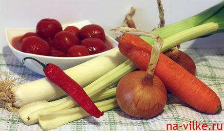 Овощи для супа из бычьих хвостов