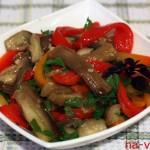 Салат из печёных баклажан и болгарских перцев