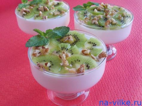 Творожный десерт с киви