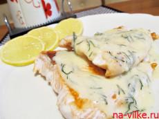 Филе сёмги в сырном соусе
