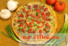 Постная пицца с грибами и картофелем