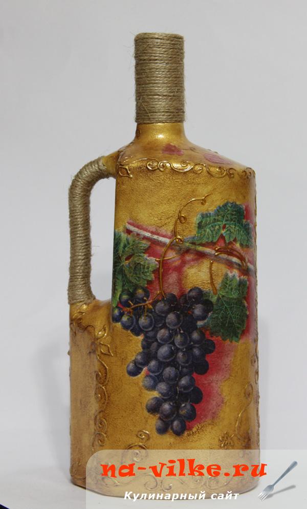 Декупаж из бутылки от вина