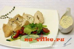 Куриные грудки фаршированные козьим сыром и грецкими орехами