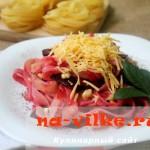 Тальятелле со свеклой и сыром