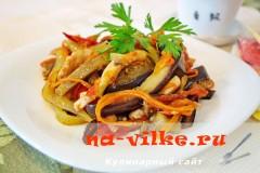 Теплый овощной салат из курицы и баклажан