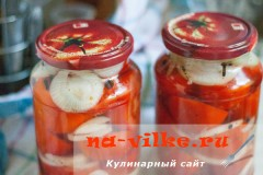 Маринованные помидоры с луком на зиму – рецепт с фото