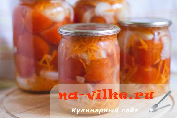 Консервированные помидоры в желе с луком и морковью по-латышски