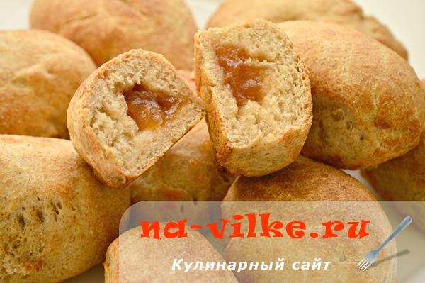 Запеченные овсяные пончики с яблочным повидлом в аэрофритюрнице