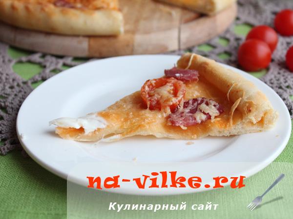 Пицца с яйцом - кусок