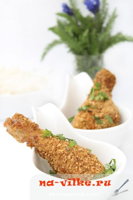 Куриные голени в панировке из сухарей, запеченные в духовке