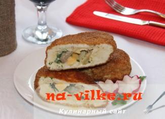Куриные зразы с начинкой из сыра и грибов