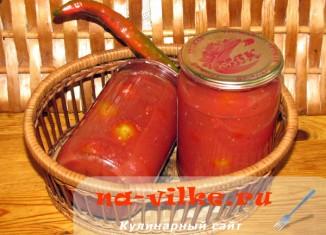 Консервированные помидоры черри а аджичной заливке