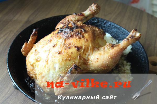 Курица целая с рисом в духовке рецепт пошагово