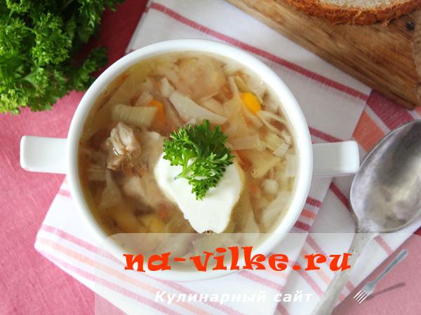 Вкусные щи с капустой на свином бульоне