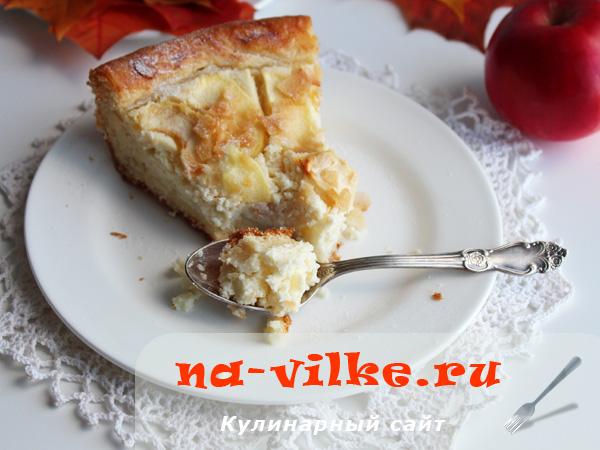 Творожно-яблочный пирог из дрожжевого теста