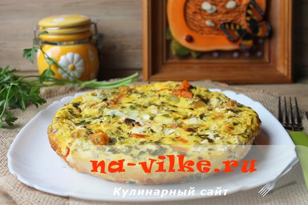 Фриттата с тыквой и сыром фета в мультиварке