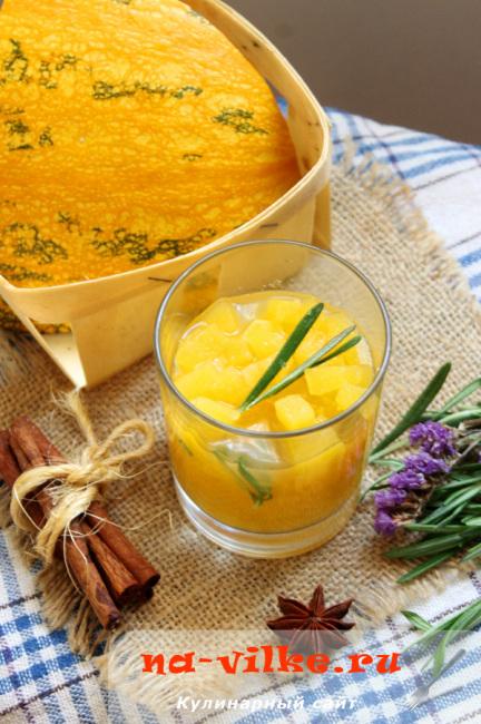 Варенье из тыквы в сиропе с пряностями и розмарином