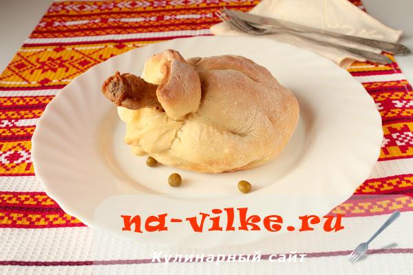 Куриные ножки в тесте с начинкой из картофеля и горошка