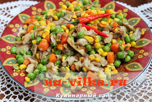 Вешенки с овощами в мультиварке