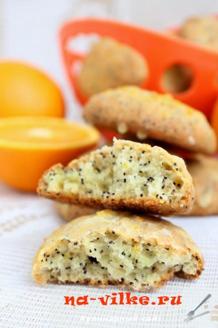 Апельсиновое печенье с творогом и маком