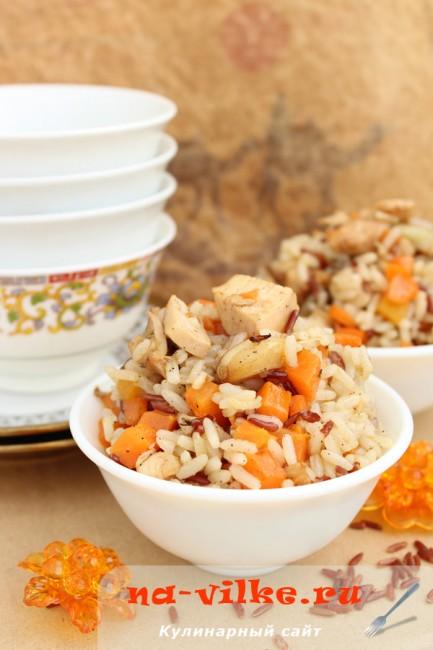 Рис с куриной грудкой и морковью