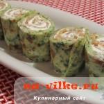 Аппетитные закусочные блины со шпинатом, семгой и сыром