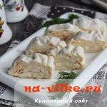 Армянский лаваш в виде роллов с яйцом и плавленым сыром
