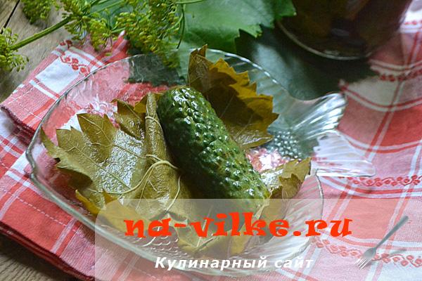 Маринованные огурцы в виноградных листьях с красной смородиной на зиму
