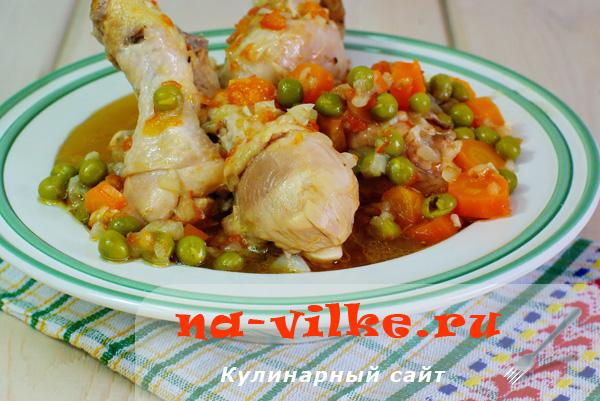 Готовим куриную голень с морковью и зеленым горошком