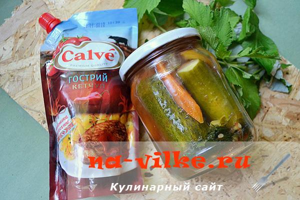 Острые огурцы с кетчупом на зиму