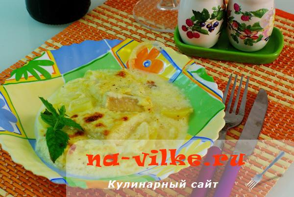 Палтус с картофелем в сырном соусе