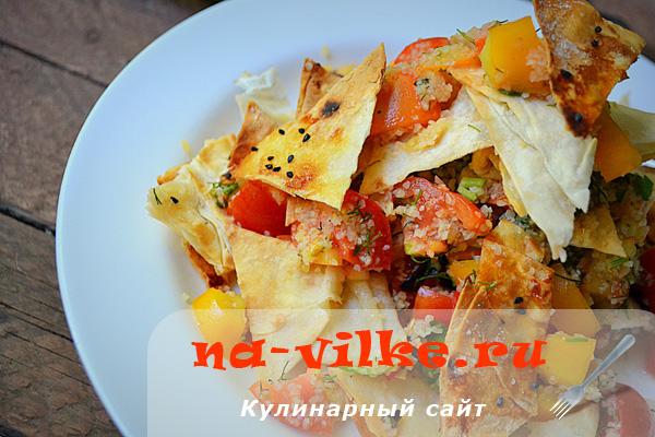 Вариация салата Табуле с лавашем