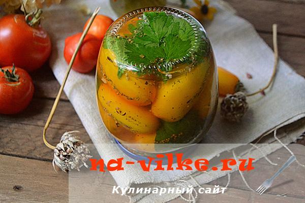 Жёлтые консервированные помидоры с горчицей и корицей