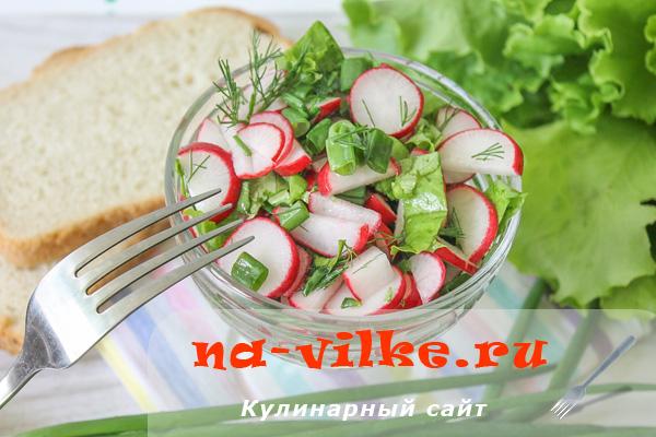 Домашний салат быстрого приготовления из редиса и зеленого лука