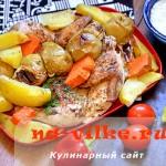Запечённый цыплёнок с картофелем, тыквой и яблоками