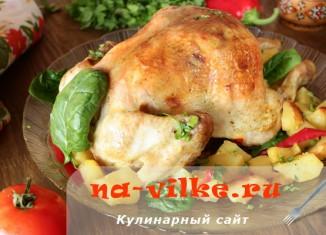 Запекаем курицу целиком с картошкой в духовке