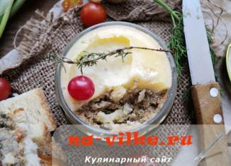 Рецепт печеночного паштета с грибами, сыром, луком и морковью