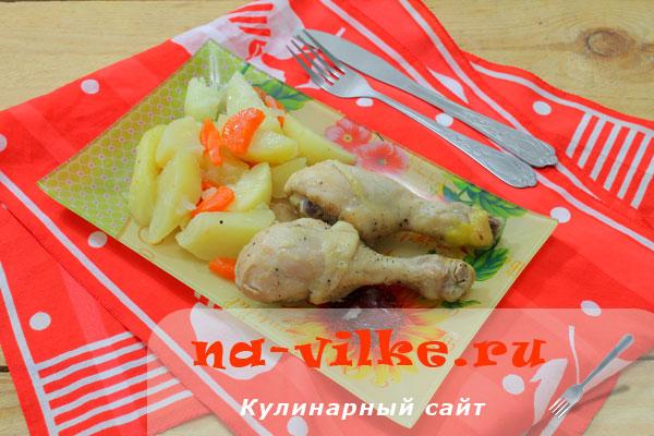 Картошка с куриными окорочками в рукаве