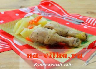Запеченная курятина с картошкой в рукаве