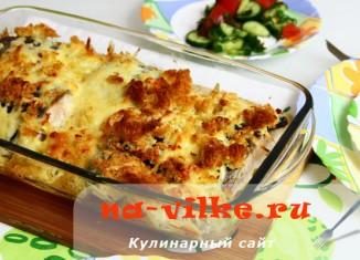Кета под сыром и хлебной крошкой, запечённая кусочками в духовке