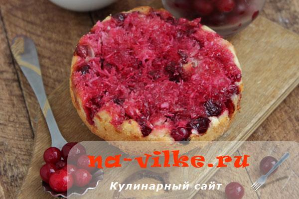 Клюквенный пирог с кокосовой стружкой и клюквой