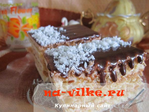 Вафельный торт со сгущёнкой без выпечки