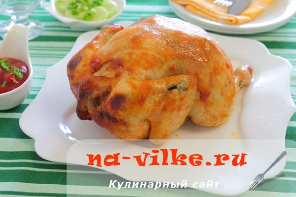 Курица в духовке на банке в маринаде из кетчупа