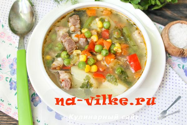 Суп из замороженной овощной мексиканской смеси и солёной грудинки